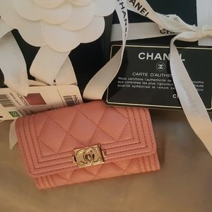 Chanel boy snap card holder